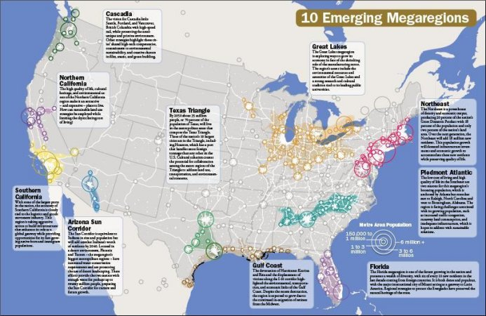 Divestiture And Destruction Of T - Us megaregions map the atlantic